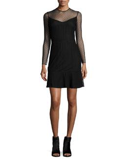 Charlotte Swiss Dot Dress, Black