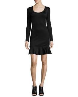 Brianna Long-Sleeve Flounce-Hem Dress
