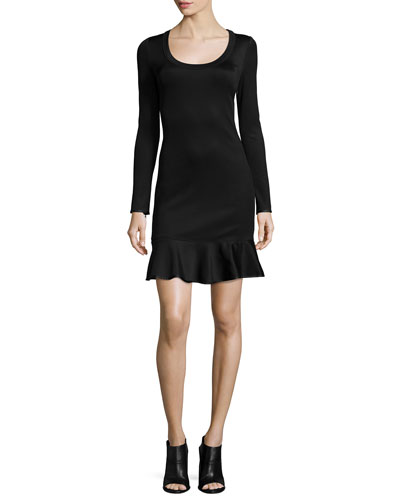 Brianna Long-Sleeve Flounce-Hem Dress