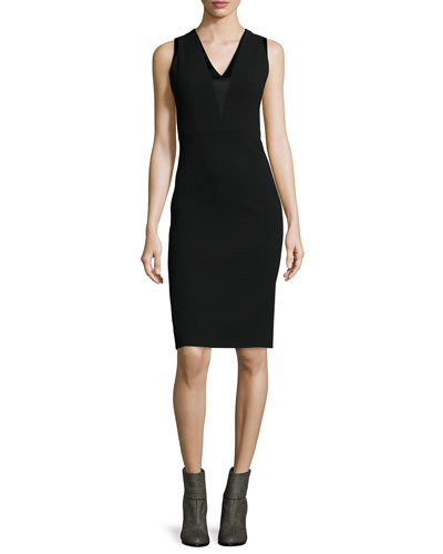 Lauren V-Neck Sheath Dress, Black