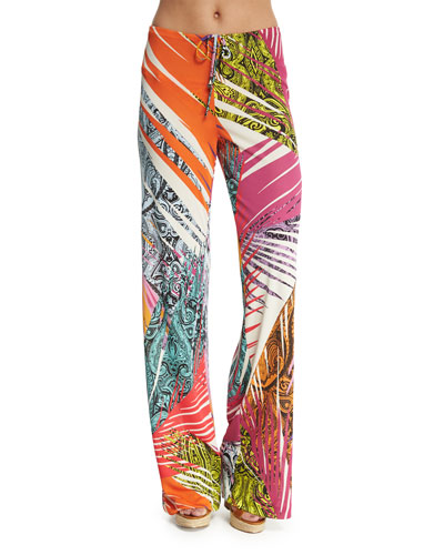 Jungle-Print Jersey Coverup Pants