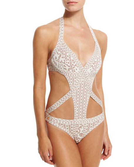 6361b385df Herve Leger Printed Bandage Cutout One-Piece Swimsuit