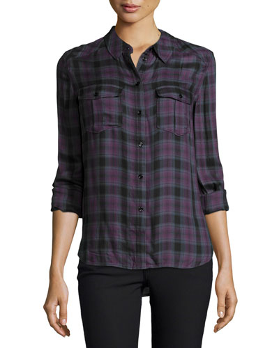 Mya Long-Sleeve Plaid Shirt, Velvet Plum/Black