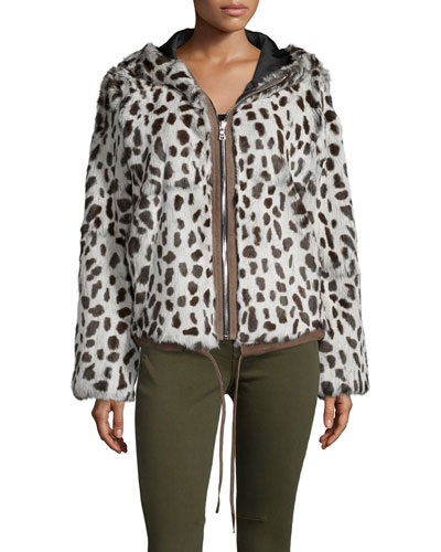 Francois Hooded Zip-Front Jacket, Cruela