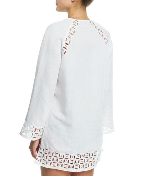 f9695271e1a498 Tory Burch Embroidered Cutout Linen-Blend Tunic Coverup