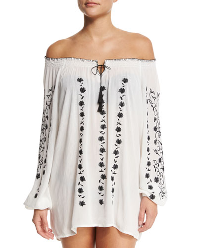 Embroidered Off-the-Shoulder Coverup Top