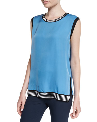 Anita Sleeveless Silk Tank, Parisian Blue