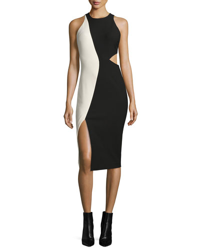Lunai Sleeveless Two-Tone Dress, Black/Vanilla