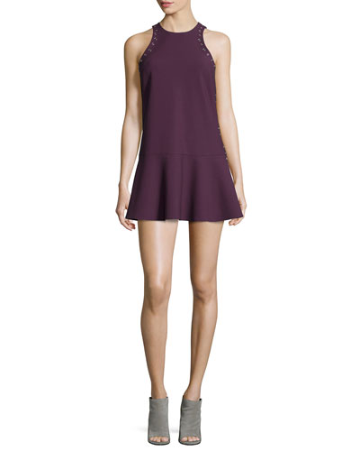 Lizabeth Flounce-Hem Mini Dress, Plum