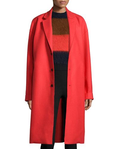 Blankett Three-Button Coat, Fiery Red