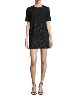 Karen Grommet-Embellished Shift Dress, Black