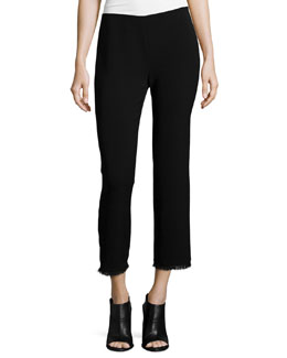 Caspar Slim-Leg Cropped Pants, Black