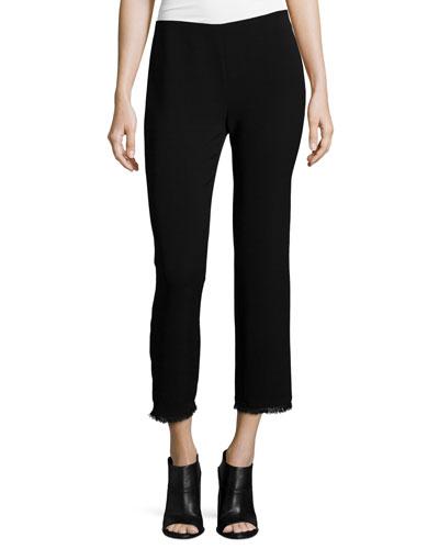 Caspar Slim-Leg Cropped Pants, Black