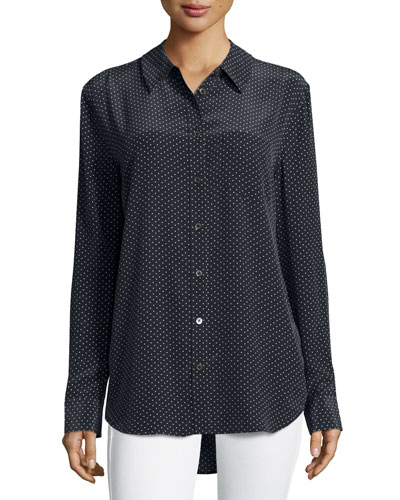 Reese Long-Sleeve Dot-Print Blouse, Black/White
