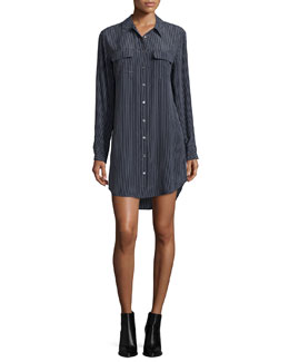 Slim Signature Long-Sleeve Shirtdress, Black/White