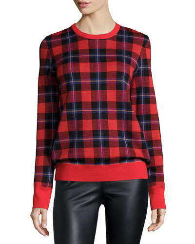 Shane Long-Sleeve Plaid Sweater, Cherry Red/Multi