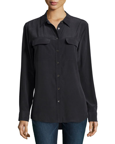 Slim Signature Long-Sleeve Top, True Black