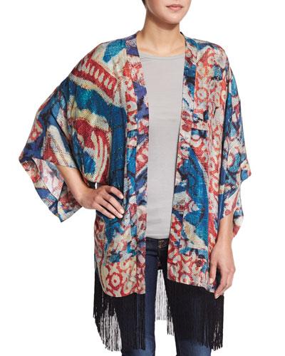 Nomad Tribal-Print Kimono W/Fringe, Moonderacers
