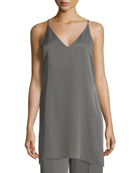 Theory Awenna Sleeveless Long Silk Top