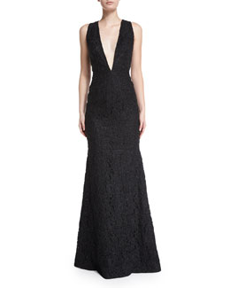 Sleeveless Plunging V-Neck Lace Mermaid Gown