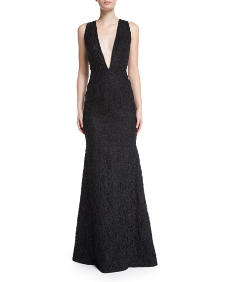 f4021ab0d7113f Carmen Marc Valvo Sleeveless Plunging V-Neck Lace Mermaid Gown