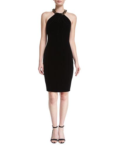 Beaded Velvet Halter Cocktail Dress, Black