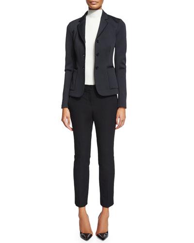 Mancato Button-Front Blazer, Black