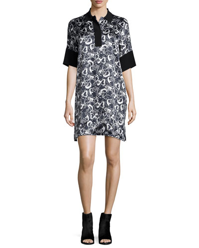 Dana Printed Silk Tunic, Black/White