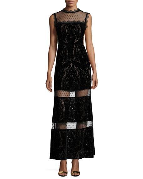 Paisley Maxi Dress with Sheer Insets