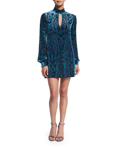 Long-Sleeve Velvet Paisley Dress