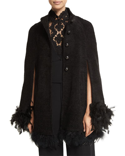 Button-Front Cape with Feather Trim