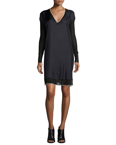 Maude Silk Long-Sleeve Dress, Caviar