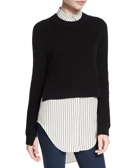 Valentina Cropped Cashmere Sweater, Black