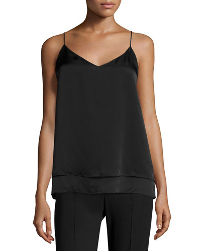 Lora Layered Satin Cami Top, Black