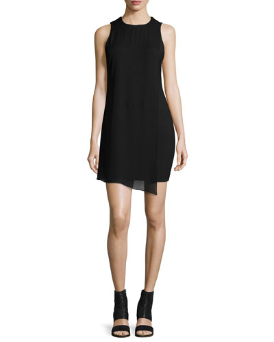 Felicia Asymmetric Shift Dress, Black