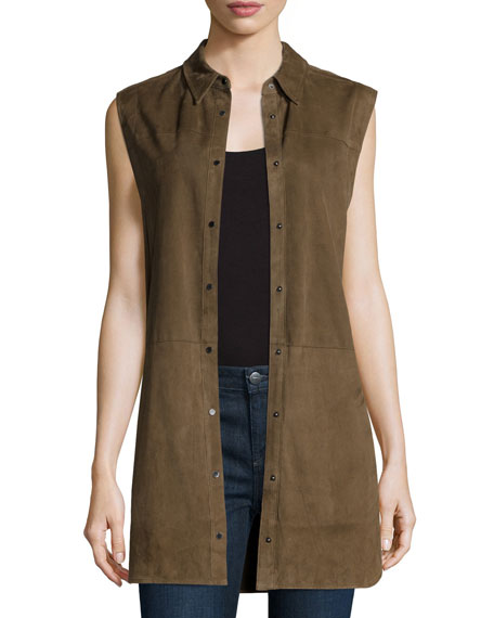 Vince Suede Sleeveless Snap-Down Tunic