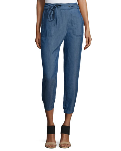 Utility Wrap-Front Chambray Pants