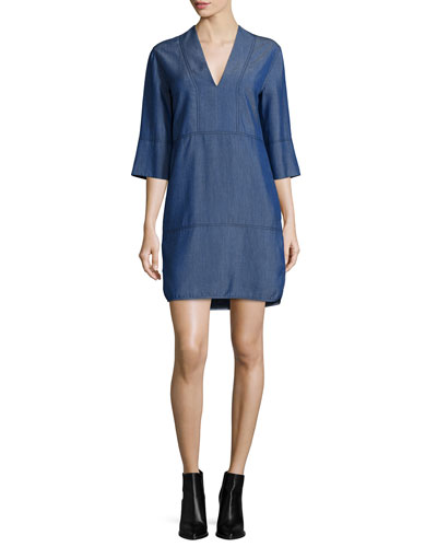 Chambray V-Neck Shift Dress