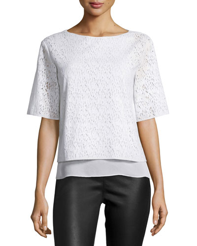 Half-Sleeve Lace Top