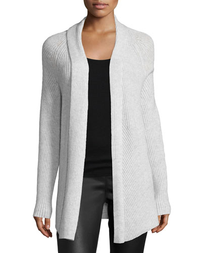 Directional-Rib Cashmere-Blend Cardigan