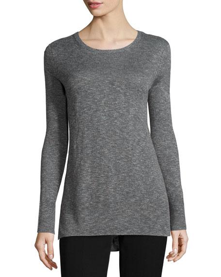 Fine-Gauge Slub Crewneck Sweater