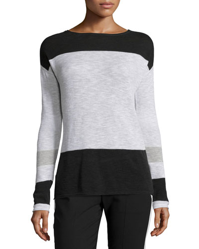 Colorblock Cotton Intarsia Sweater
