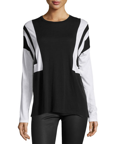 Optic-Stripe Long-Sleeve Tee