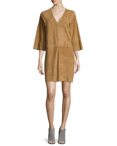 Suede V-Neck Shift Dress