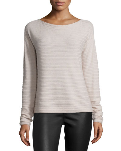 Horizontal-Rib Cashmere Top