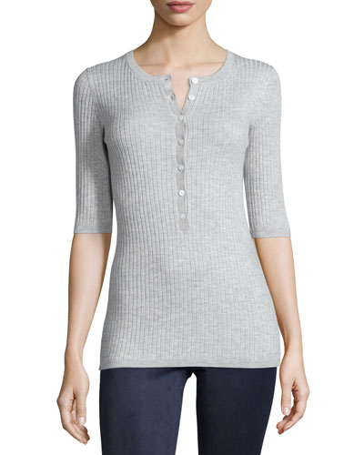 Skinny-Rib Half-Sleeve Henley Shirt