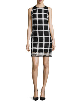 Sleeveless Grid-Pattern Organza Shift Dress