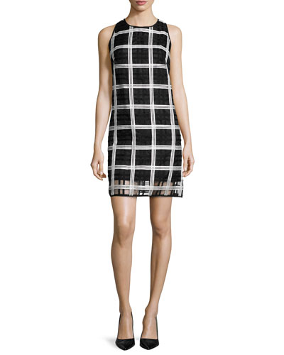 Sleeveless Grid-Pattern Organza Shift Dress