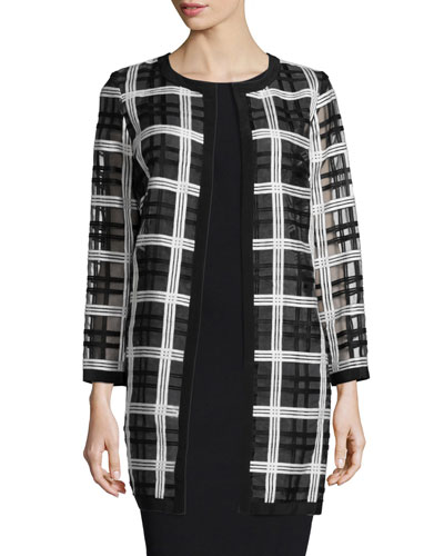 Plaid Organza Cocktail Coat