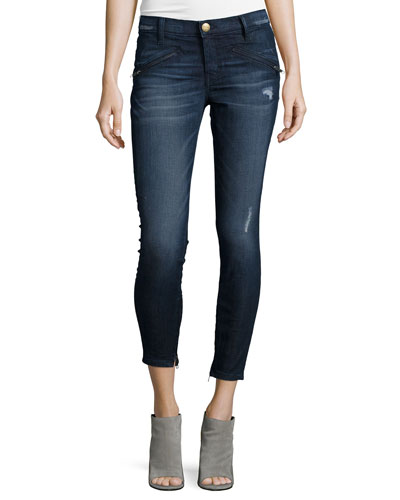 The Silverlake Zip Cropped Skinny Legs, Sargent Destroy